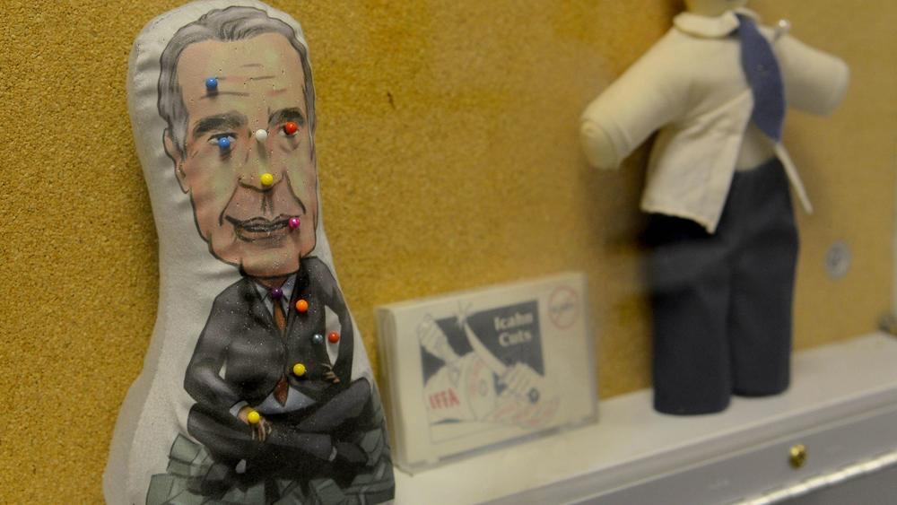 Voodoo dolls representing onetime TWA shareholder Carl Icahn are among artifacts on display at the TWA Museum. (Dan Ray / For The Times)